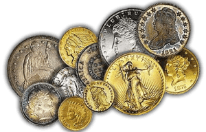 Antique valuable coins from a numismatic collection