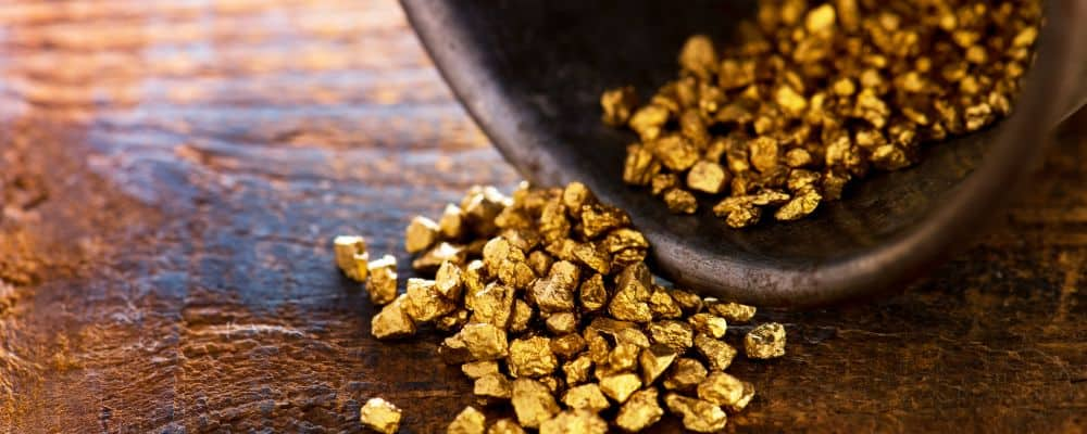 Precious metals raw gold in a pot